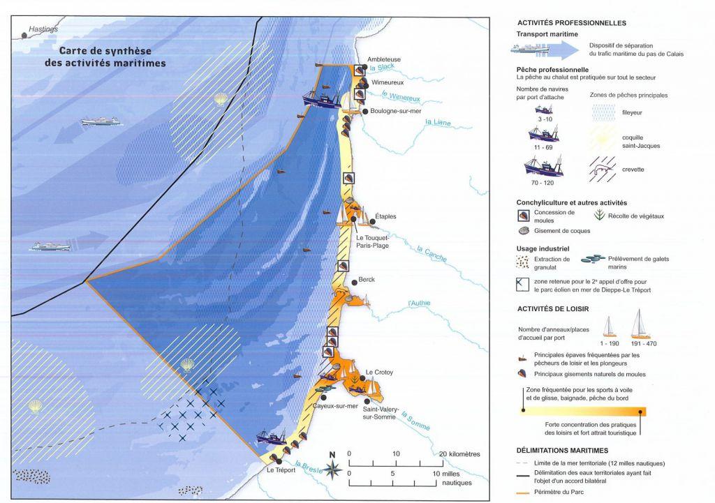 Carte du parc naturel marin des Estuaires Picards et de la Mer d'Opale (PNM EPMO)