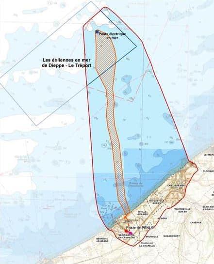 Carte du fuseau de moindre impact en mer et à terre du projet de Dieppe - Le Tréport