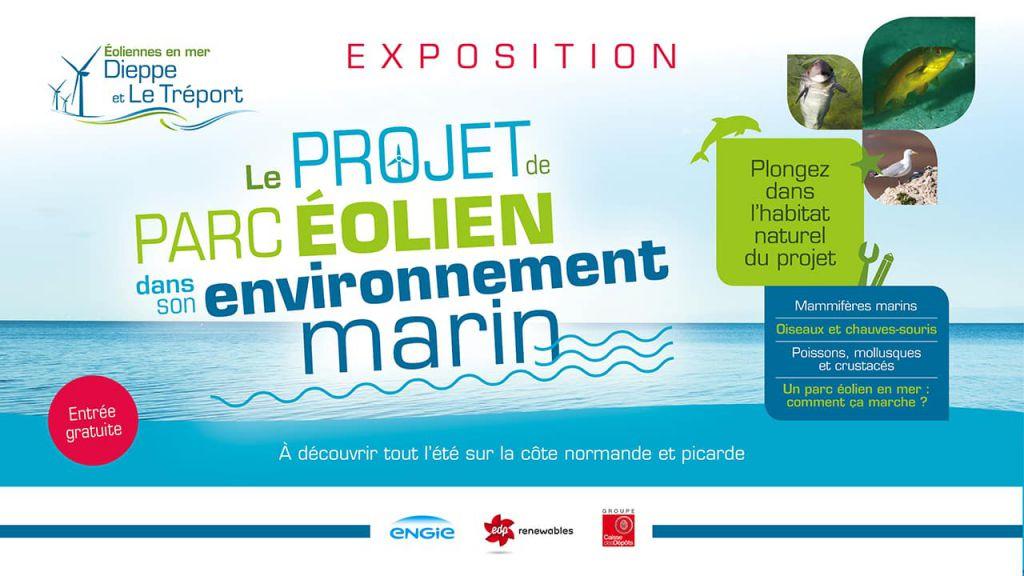 Flyer de l'exposition sur l'environnement marin fait par la société Éoliennes en Mer Dieppe Le Tréport