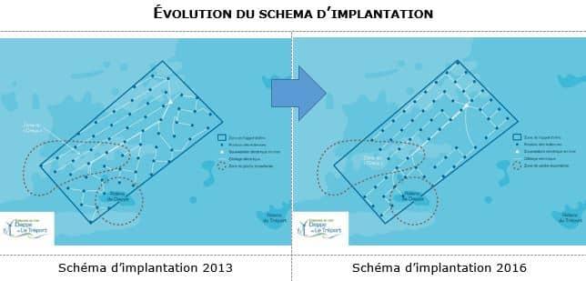 Evolution du schéma d'implantation pour le parc éolien en mer Dieppe Le Tréport
